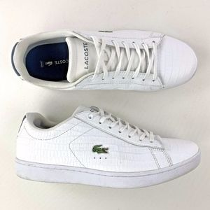 LaCoste Carnaby White Faux Croc Print Sneakers
